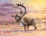 Western Western Art Metal Prints - Christmas Caribou Metal Print by Jeff Brimley