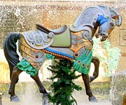Christmas Carousel Warrior Horse-1 Print by Mary Deal