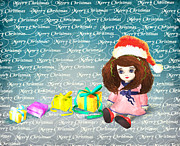 Snowy Digital Art Originals - Christmas cartoon girl by H B