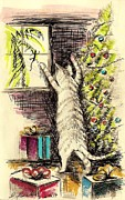 Christmas Greeting Pastels Framed Prints - Christmas Cat Framed Print by David Francke