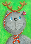 Cat Images Paintings - Christmas Cat by Sonja Mengkowski