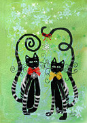 Holidays Digital Art Metal Prints - Christmas Cats Metal Print by Arline Wagner