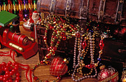 Ribbon Posters - Christmas chest full of beads Poster by Garry Gay