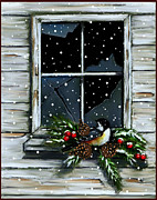 Branches Pastels Prints - Christmas Chickadee At Barn Window Print by Joyce Geleynse