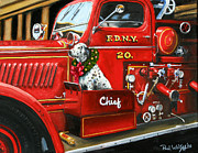 Fire Dog Prints - Christmas Chief Print by Paul Walsh