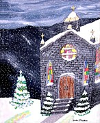 Christmas Eve Paintings - Christmas Church by Gordon Wendling