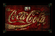 Weathered Coke Sign Art - Christmas Coca Cola 1881 Santa by John Stephens