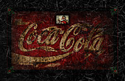 Weathered Coke Sign Art - Christmas Coca Cola Ice Crystals 1881 Santa by John Stephens