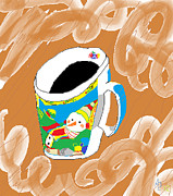 Winter Fun Drawings Posters - Christmas Coffee Poster by Anita Dale Livaditis