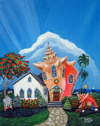 Key West Paintings - Christmas Conch Church by Abigail White
