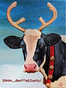 Moo Moo Paintings - Christmas Cow by Laura Carey