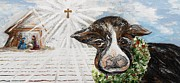 Star Of Bethlehem Painting Prints - Christmas Cow - Oh to Have Been There... Print by Eloise Schneider