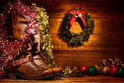 Country Decor Prints - Christmas Cowboy Boots Print by Olivier Le Queinec