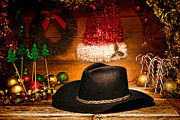 Christmas Greeting Photo Prints - Christmas Cowboy Hat Print by Olivier Le Queinec