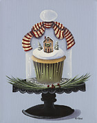 Folk Art Paintings - Christmas Cupcake by Catherine Holman