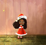 Snowy Digital Art Originals - Christmas cute African girl Poster by H B