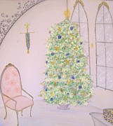 Interior Pastels Posters - Christmas Day Poster by Christine Corretti