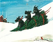 Scottie Paintings - Christmas Day Scottie Style by Margaryta Yermolayeva