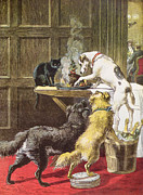 Dogs Drawings Posters - Christmas Day The Uninvited Poster by Samuel Edmund Waller