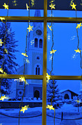 Snowy Evening Prints - Christmas decoration - yellow stars and blue church Print by Matthias Hauser