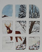 Rudolph Painting Prints - Christmas Deer  Print by Barbara Griffin