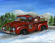 Delivering Painting Posters - Christmas Delivery Poster by Kim Arre-gerber