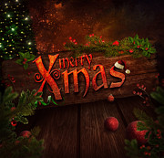 Backdrop Digital Art - Christmas design - Xmas sign by Mythja  Photography