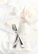 Table Cloth Metal Prints - Christmas dinner Metal Print by Mythja  Photography