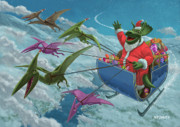 Cartoon Dinosaurs Prints - Christmas Dinosaur Santa ride Print by Martin Davey
