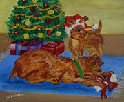 Doggies Paintings - Christmas doggie fun by Elizabeth Liz Pritchett