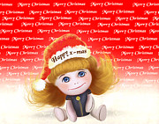 Snowy Digital Art Originals - Christmas doll girl Poster by H B