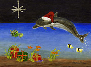 Reds Gold Greens White Blues Prints - Christmas Dolphin and Friends Print by Jamie Frier
