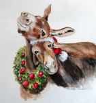 Christmas Donkeys Print by Carole Powell