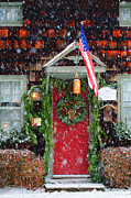 Storm Greeting Cards Posters - Christmas Door Americana Poster by AdSpice Studios