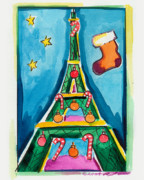 Christmas Tree Originals - Christmas Eiffel Tower Painting by Robyn Saunders