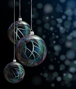 Ribbon Prints - Christmas elegant glass baubles Print by Jane Rix