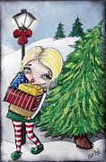 Gifts Mixed Media Originals - Christmas Elf Is Loaded Up With Gifts by Lizzy Love of Oddball Art Co