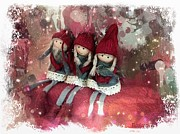 Toys Digital Art - Christmas elves by Barbara Orenya
