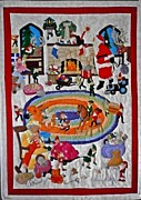 Toys Tapestries - Textiles Framed Prints - Christmas Elves Framed Print by Linda Egland
