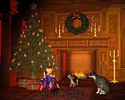 Christmas Eve Digital Art Posters - Christmas Eve Cats by the Fire Poster by Fairy Fantasies