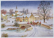 Christmas Card Painting Framed Prints - Christmas Eve in the Village  Framed Print by Stanley Cooke