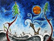 Snow Man Posters - Christmas Eve Poster by Megan Duncanson