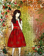 Janelle Nichol Prints - Christmas Eve mixed media Folk artwork of Young Girl Print by Janelle Nichol