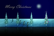 Christmas Eve Art - Christmas Eve Walk of the Penguins  by David Dehner