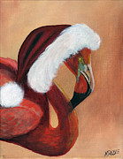 Xmas Painting Originals - Christmas Flamingo by James Kruse