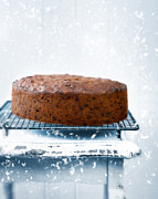 Falling Snow Posters - Christmas Fruit Cake Poster by Christopher and Amanda Elwell