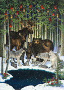 Wild Animals Metal Prints - Christmas Gathering Metal Print by Lynn Bywaters