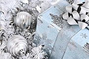 Ribbon Prints - Christmas gift box and decorations Print by Elena Elisseeva