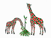 Humorous Greeting Cards Painting Prints - Christmas Giraffes Print by Jan Law