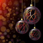 Ribbon Prints - Christmas glass baubles Print by Jane Rix